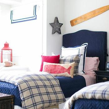White Beadboard Bunk Beds With Red White And Blue Bedding