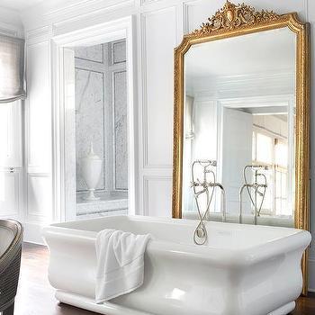 Gold Baroque Bathroom Floor Mirror Design Ideas