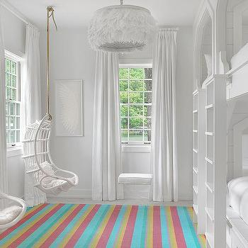 White Girls Bunk Room with White Rattan Hanging Chairs