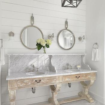 Beach Style Bathroom With Large Venetian Mirror Cottage