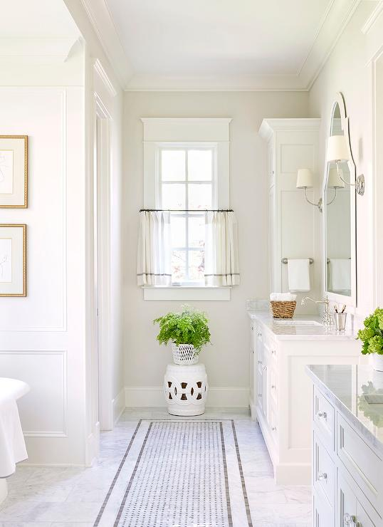 White And Gray Master Bathroom With White And Gray Cafe Curtains
