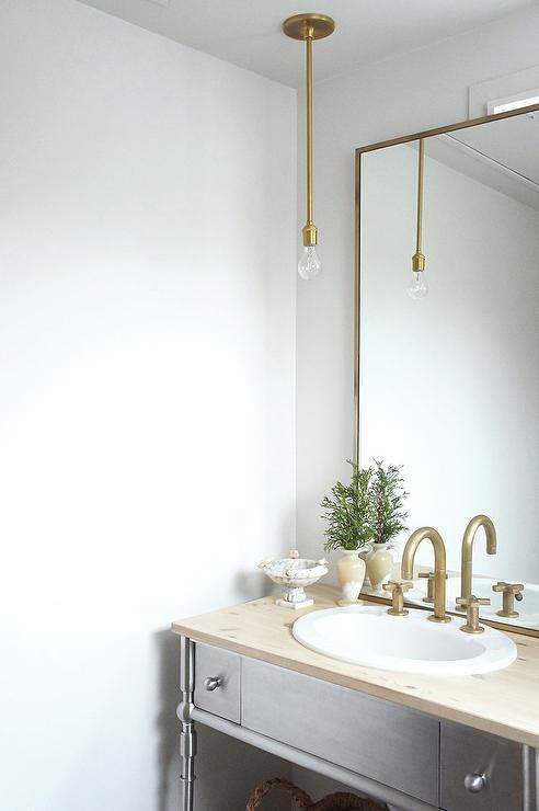 Satin Nickel Washstand With Unstained Wood Countertop
