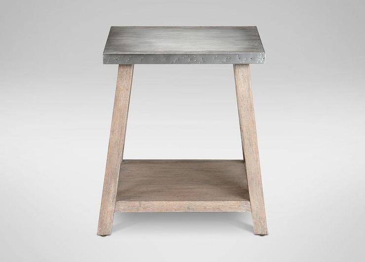 Silver Metal Top End Table