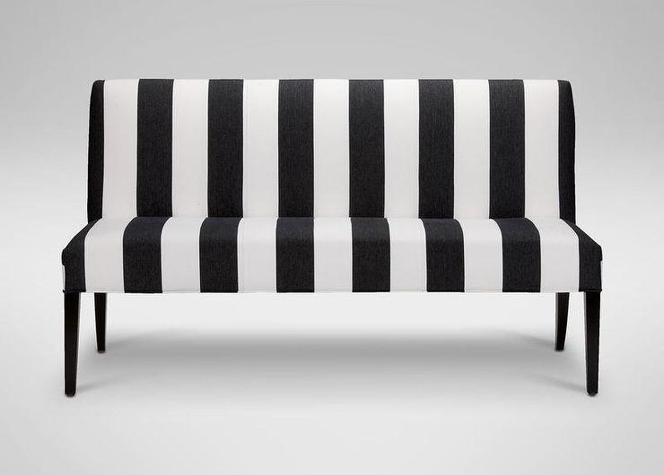 black and white upholstered bench