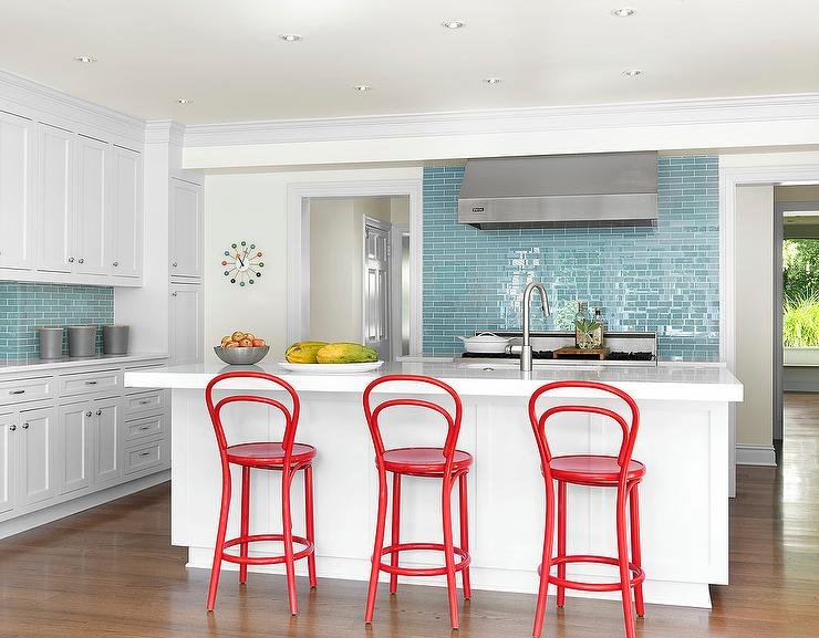 White and Blue Kitchen and Red Bentwood Counter Stools & White and Blue Kitchen and Red Bentwood Counter Stools - Cottage ... islam-shia.org