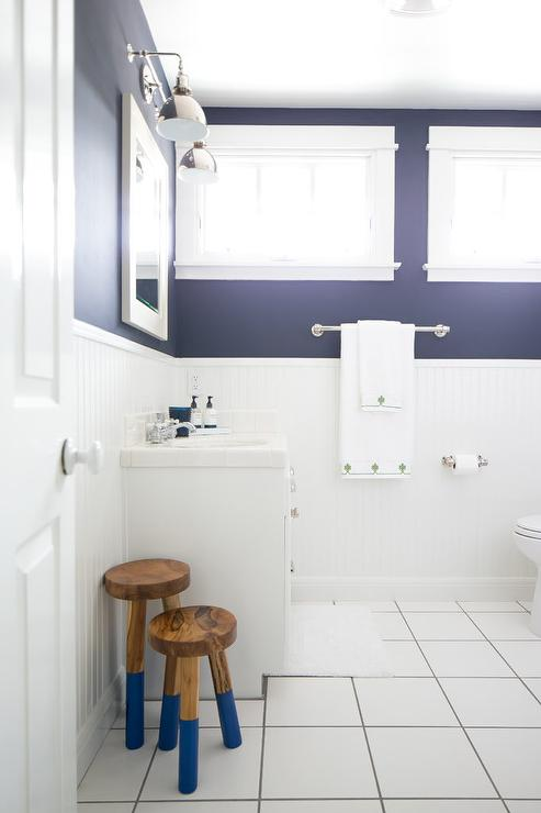 White And Navy Blue Boy Bathroom With White Beadboard Trim