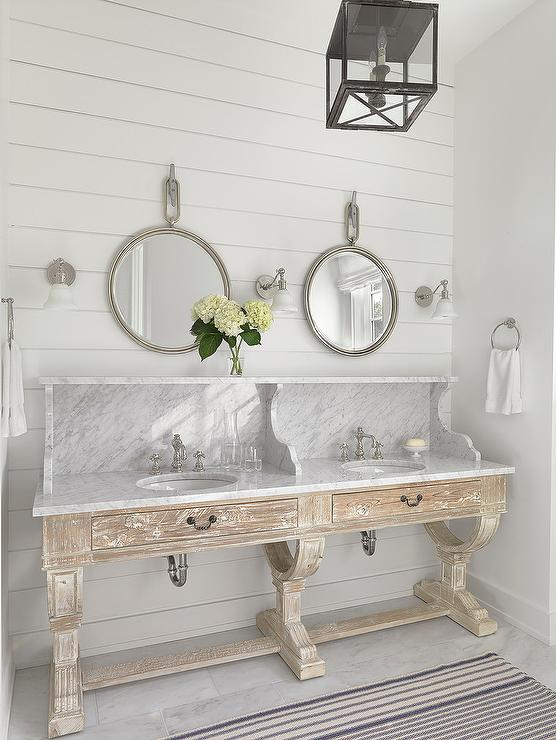 Vintage Double Bathroom Vanities custom white dual bath vanity with marble - cottage - bathroom