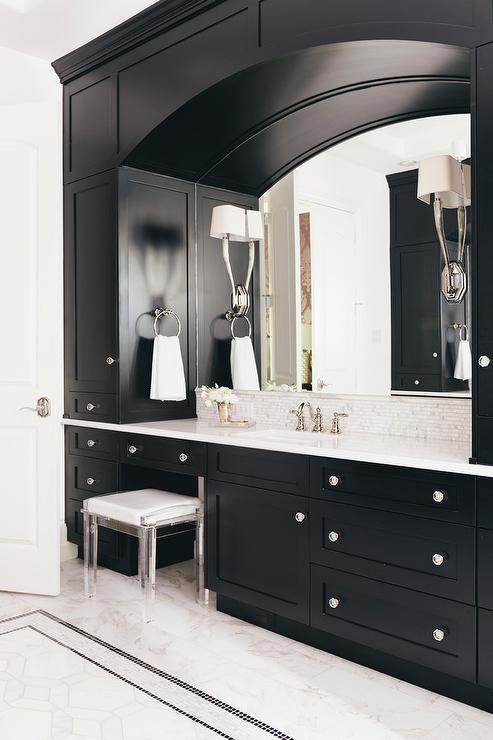Very best White and Black Bathroom with Mosaic Marble Tile Backsplash  FG86