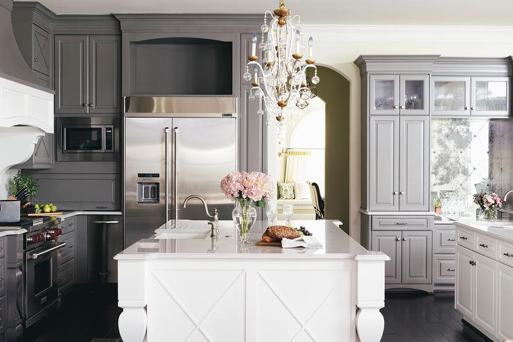 Grey And White Kitchen With Island white kitchen with gray velvet counter stools and white beveled