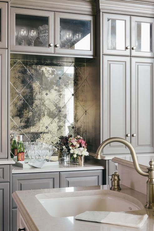 Gray Shaker Bar Cabinets, Finished With Flat Satin Nickel Knobs And  Centered Glass Front Cabinets, Surround Antiqued Mirror Diamond Pattern  Backsplash Tiles ...