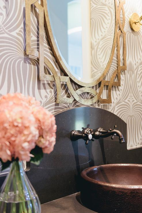 Gray and Gold Powder Room with Copper Bowl Sink - Transitional ...