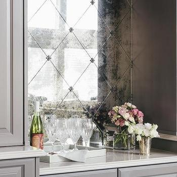 Herringbone Backsplash Dark Cabinets