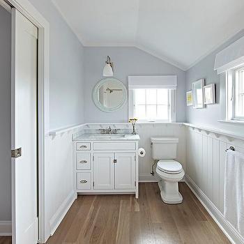 Round Powder Blue Mirror With Gray Washstand Cottage