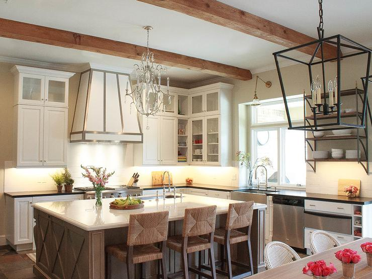 Superb White And Taupe Kitchen With Seagrass Counter Stools Pdpeps Interior Chair Design Pdpepsorg