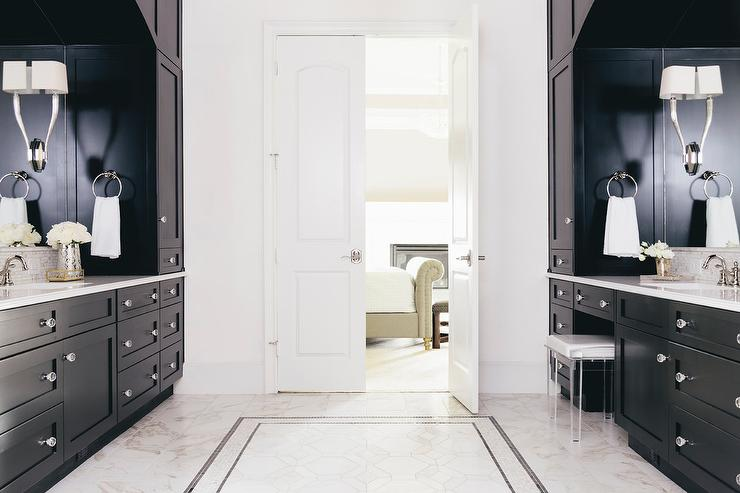 Black Master Bathroom With White Bi Fold Doors