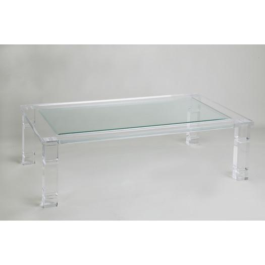 Ghost Acrylic Base Glass Coffee Table - Acrylic Base Glass Coffee Table