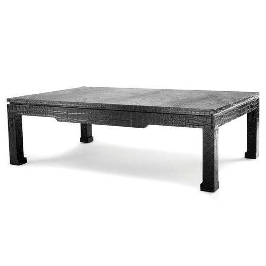 Black Embossed Faux Leather Coffee Table