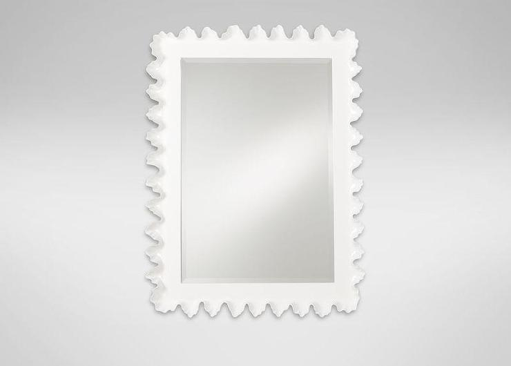 White Scalloped Frame Mirror