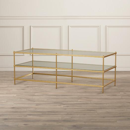 Gold Three Tiered Glass Coffee Table