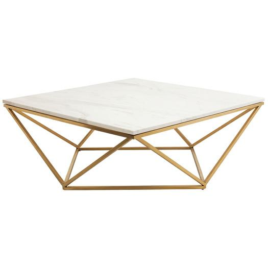Brushed Gold White Marble Rectangular Coffee Table: Marble Top Brass Metal Drum Coffee Table