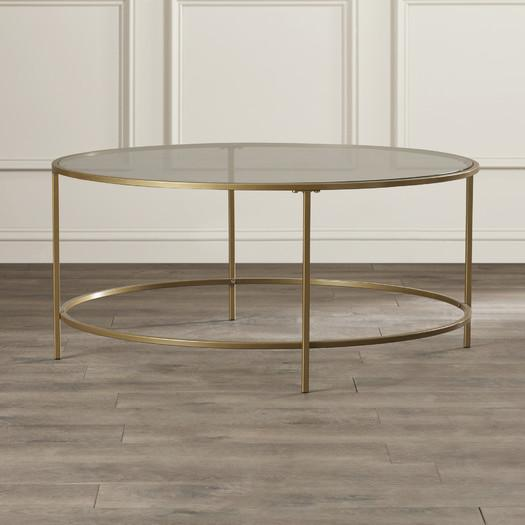 brass frame glass coffee table