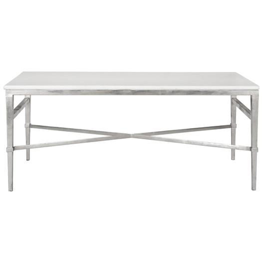 White Marble Top Silver Frame Coffee Table