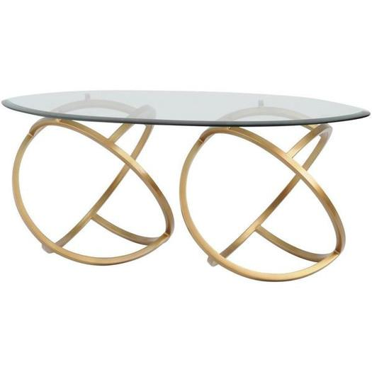 gold curled base glass coffee table