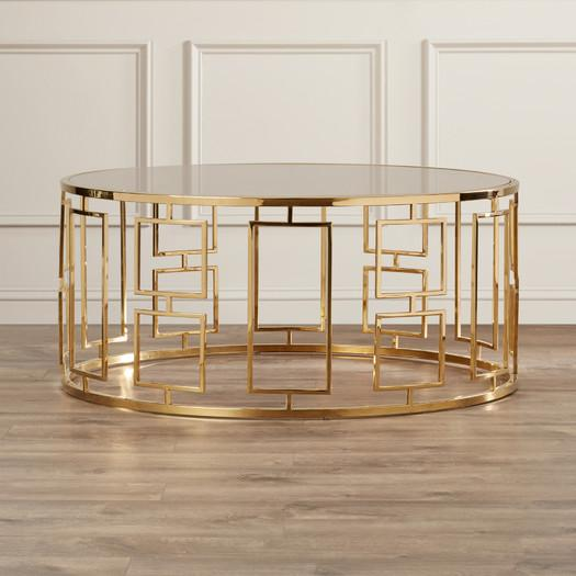 Gold Geometric Base Glass Top Coffee Table - Geometric base coffee table