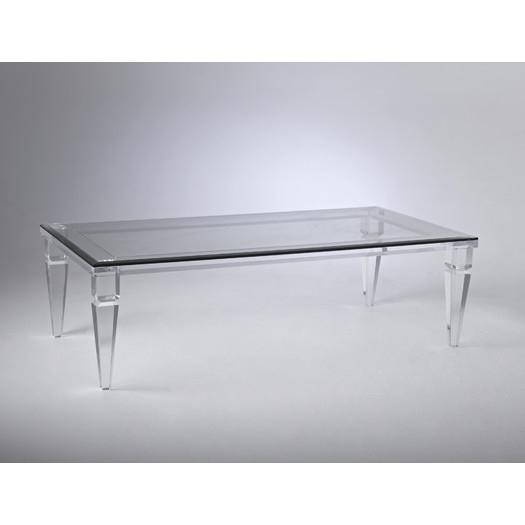 Glass Acrylic Legs Coffee Table - Ghost Acrylic Base Glass Coffee Table