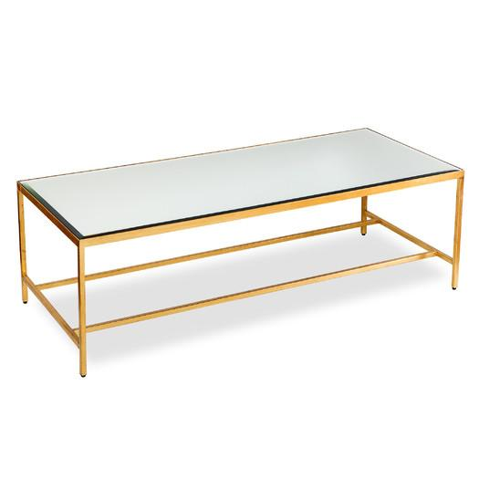 Floating Mirrored And Gold Coffee Table