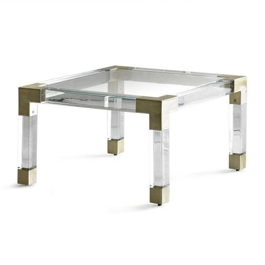 French brass lucite and glass coffee table for Clear lucite acrylic coffee table