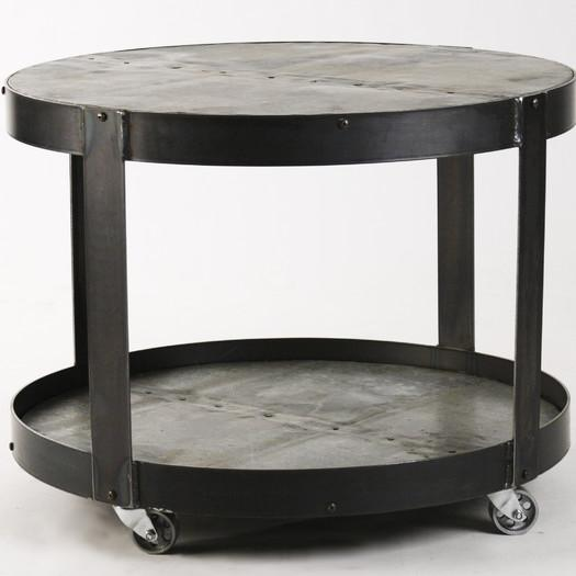 Round Black Recycled Metal Coffee Table - Black Recycled Metal Coffee Table
