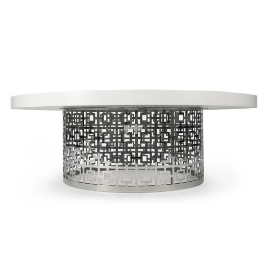 Silver And White Perforated Cocktail Table