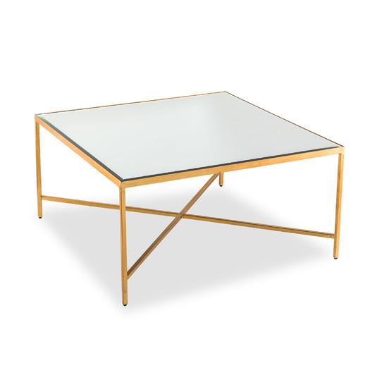 Hollywood Regency X Base Gold Coffee Table