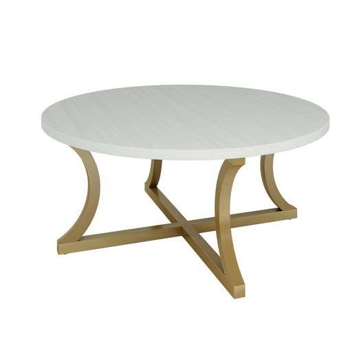 white and gold curved base coffee table