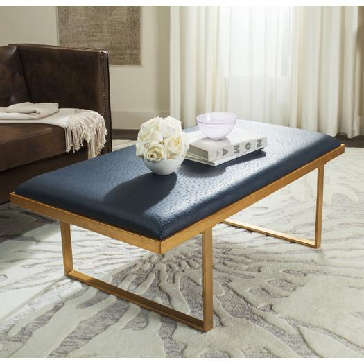 Navy Upholstered Top Coffee Table - Upholstered Top Coffee Table
