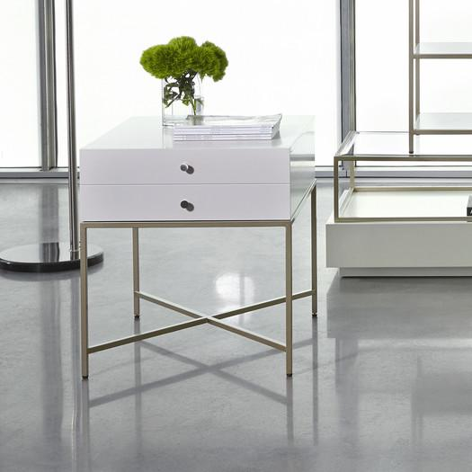 White Two Drawer X Base End Table
