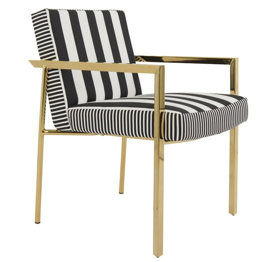 Vertical Striped Black and White Chair - Black And White Striped Slipper Chair