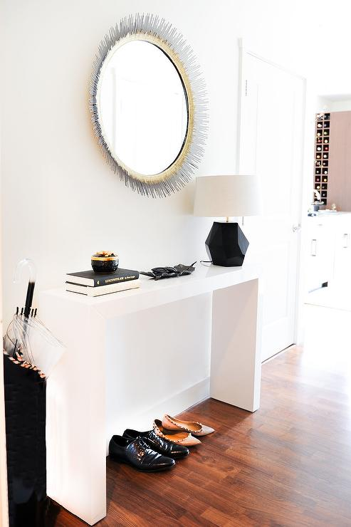 Silver Foyer Mirror : Black and white foyer with silver gold sunburst mirror