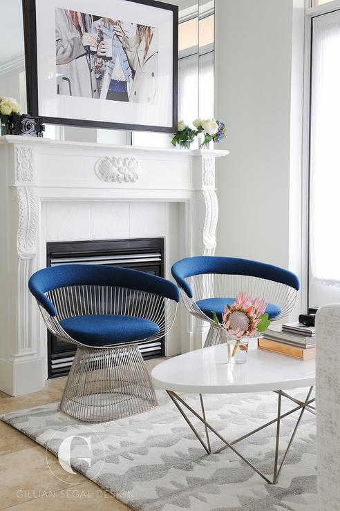 Charming Bold Blue Velvet Chairs With Oval Cocktail Table