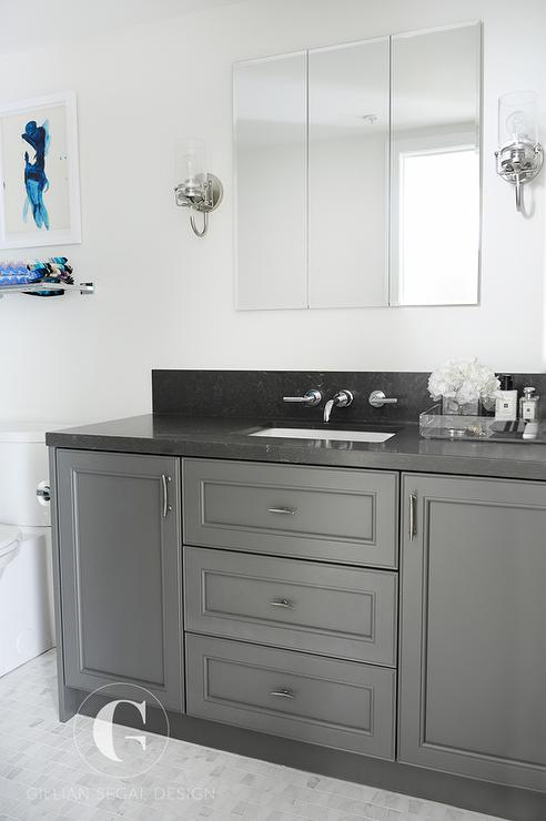 Gray granite bathroom countertop design ideas - Black marble bathroom countertops ...