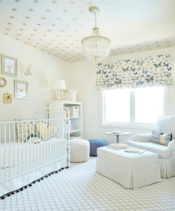 Factory Paint Decorating Color Filled Nurseries: Neutral Gender Nursery With Butterfly Roman Shade