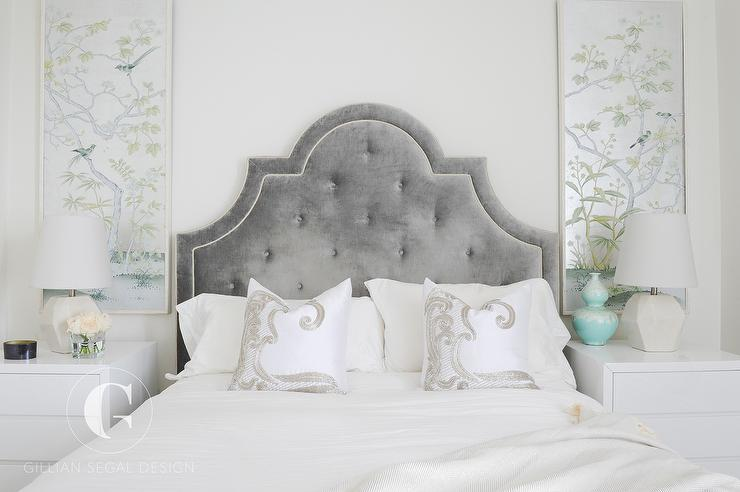 Gray velvet tufted headboard with silver and blue for Blue silver bedroom ideas