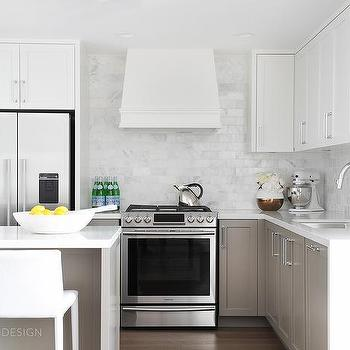 Small KItchen With White Upper Cabinets With Taupe Lower Cabinets