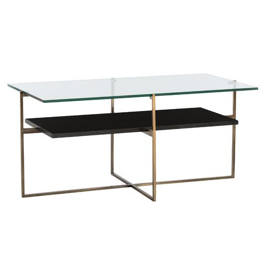 Glass Top Black Shelf Coffee Table