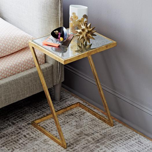 Gold Z Antique Mirror End Table