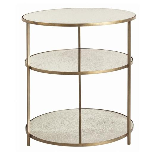 Exceptional Three Tiered Gold Antique Mirrored End Table