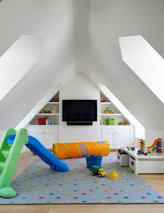 Attic Playroom With Built In Shelves And Cabinets