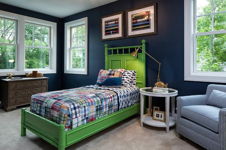 Blue and Green Boy Bedroom with Green Bamboo Bed - Transitional ...