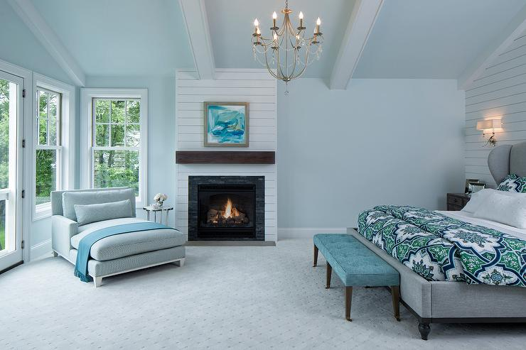 Blue and Gray Master Bedroom with Shiplap Fireplace Wall